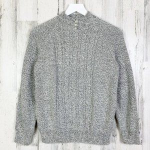 Grey Cable Knit Pearl Button Mock Neck Sweater